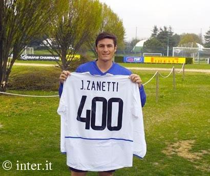 四号扎内蒂为国际米兰出战400场